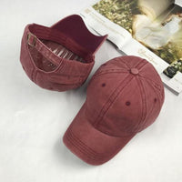 new High quality Washed Cotton Adjustable Solid color Baseball Cap - sparklingselections