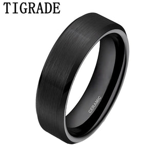 6mm Black Brushed Brand Ceramic Ring fOR Men