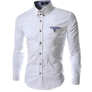 new Men's white Plaid Collar Shirt size mlxl