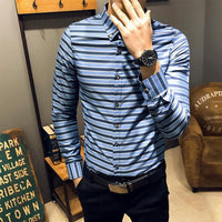 New Fashion Men Long Sleeve Striped Shirt  size mlxl