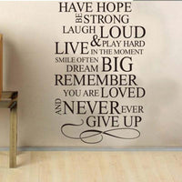 New Design Have Hope House Rules Quote PVC Wall Decal Sticker - sparklingselections