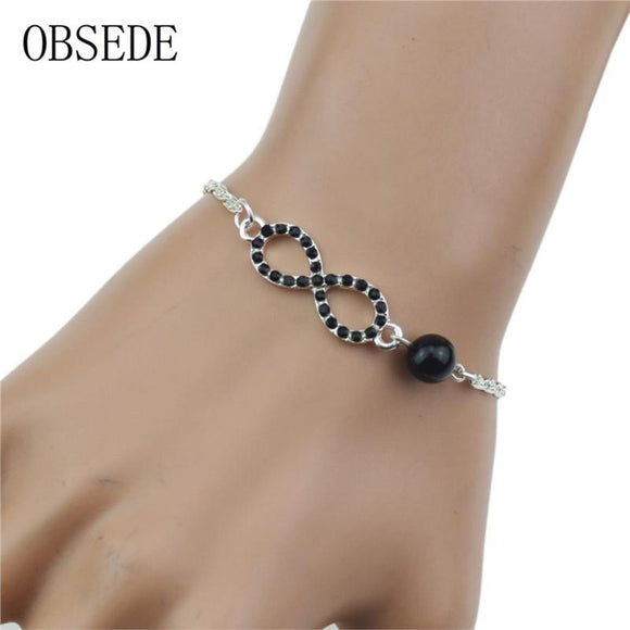 Silver Plated Eight Infinity Charm Cuff Bracelet Bangle For Women