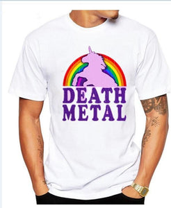new Men's Summer Death Metal Unicorn Rainbow Printed T-Shirt  size ml