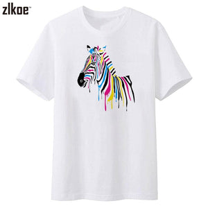 new Water color Rainbow Zebra Printed T-shirt for Men size ml