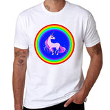 Rainbow Pegasus Causal Printed  T-shirt for man size sml