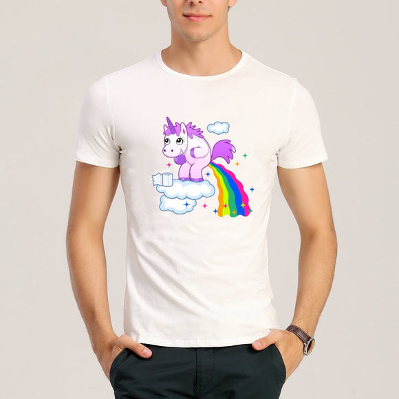 new Summer fashion Funny Rainbow Horse Printed T-shirt size sml