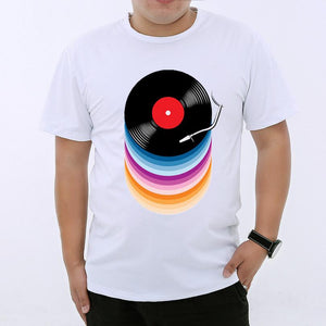 New Design Funny Music colorful CD Printed T-shirt for mens size sml