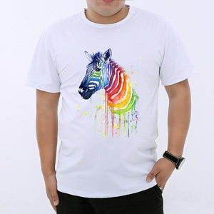 new Casual Watercolor Rainbow Zebra Printed T-shirt for Men size sml