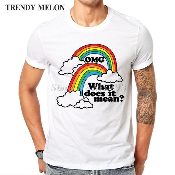 New Double Rainbow Cool Funny Printed T-Shirts size sml