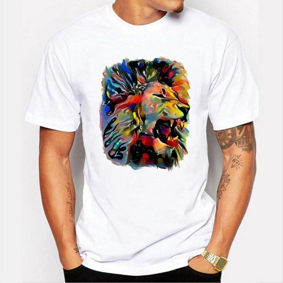 new Summer fashion Oil Panting Rainbow Lion T-shirt size sml