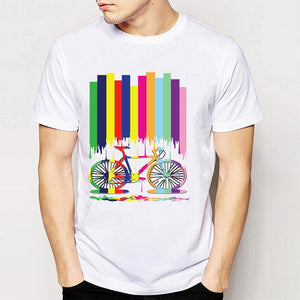 2017 New summer fashion men's short sleeve Rainbow bicycle T-Shirt size sml