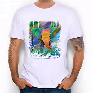 new Colorful rainbow green elephant watercolor printed T-Shirt size sml