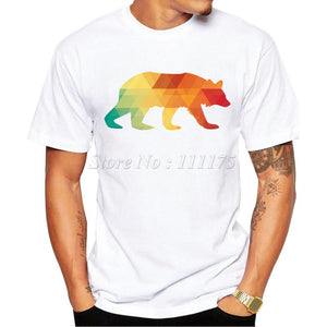New Arrivals Fashion Abstract Rainbow Bear Printed T-Shirt size sml