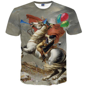 New stylish riding horse printed t-shirt for men size sml