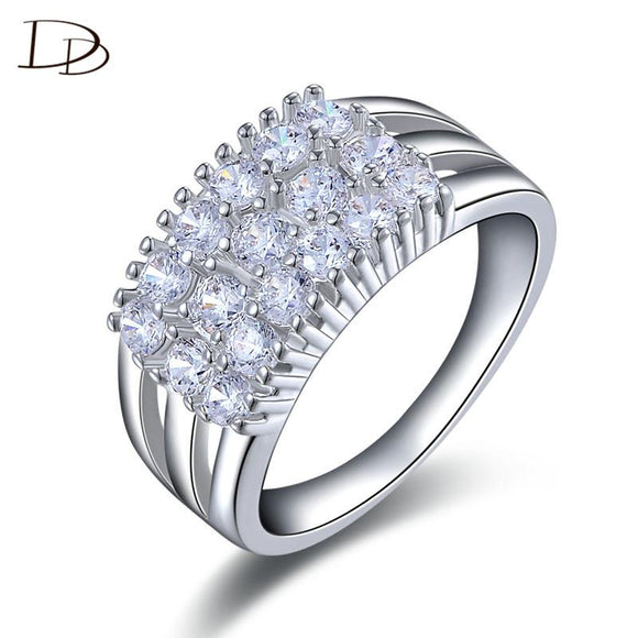 White Gold Color Rhinestone Bague Ring For Women