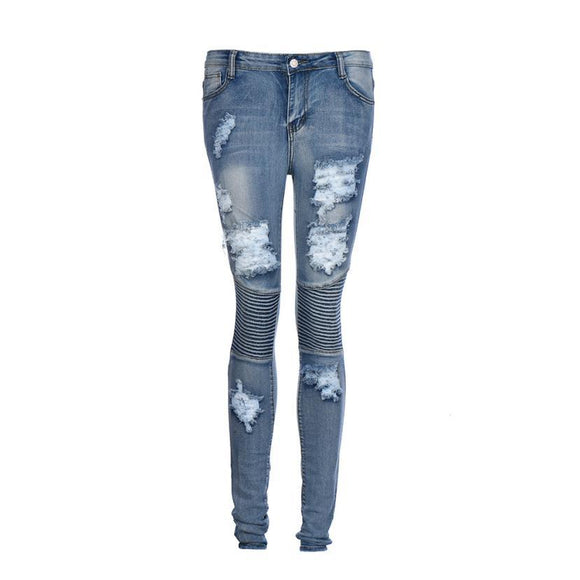 Women Denim Ripped Pencil Stretch Cotton Jeans