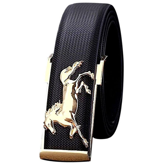 Men's Metal Gold Horse Leisure Leather Strap Belt