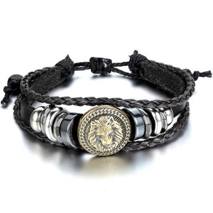 Punk Hand Made Braided Charm Bracelet Bangles For Men