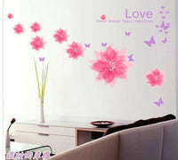 New Love Pink Flowers Butterfly Quotes Wall Sticker - sparklingselections