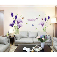 Fashion Purple Tulips Flowers Wall Stickers For Living Room Wall Sticker Home Decor - sparklingselections