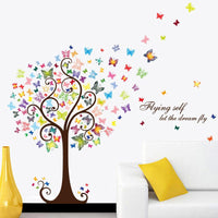Colorful Butterfly Tree Wall Sticker Kids Room Decor Home PVC Animal Style Wall Decal Stickers - sparklingselections