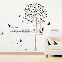 New Romantic Tree And Birdcage Vinyl Mural Art Wall Decor Sticker For Couples Room Home Decor Stickers - sparklingselections