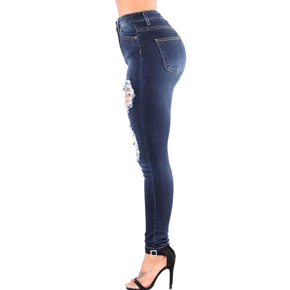 new woman slim skinny fitted ripped jeans