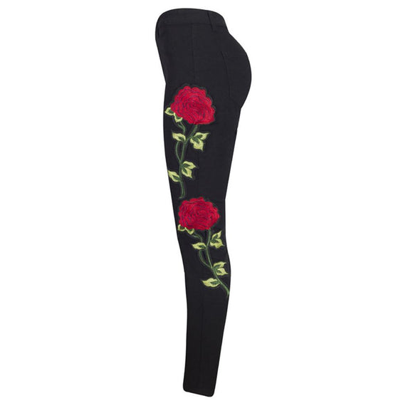 new skinny Floral Embroidered Denim Ripped Jeans
