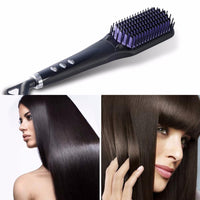 Hot Brush Hair Two in One LCD Comb Electric Hair Straightener Brush Anti-Scald Ionic Hair Straightening Brush - sparklingselections