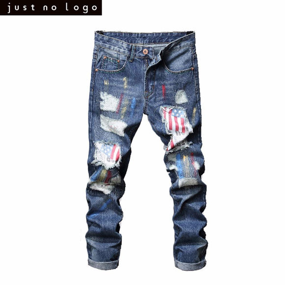 Men Light Blue Ripped American Flag Pattern Denim jeans