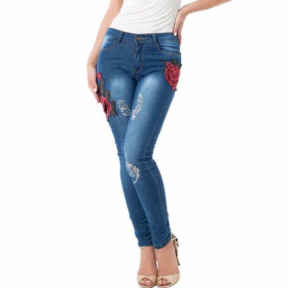 Women Fashion Winter Floral Embroidered Jeans