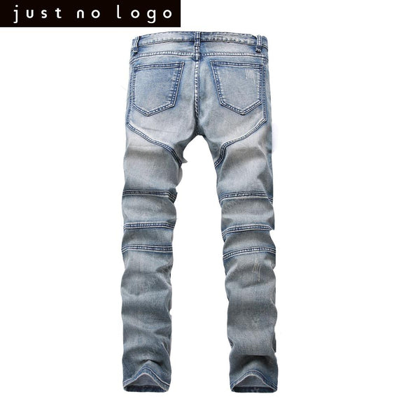 Men Skinny Slim Fit Biker Ripped Denim jeans