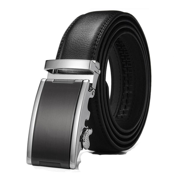 Men's Solid Buckle Leather Strap Wide Waistband