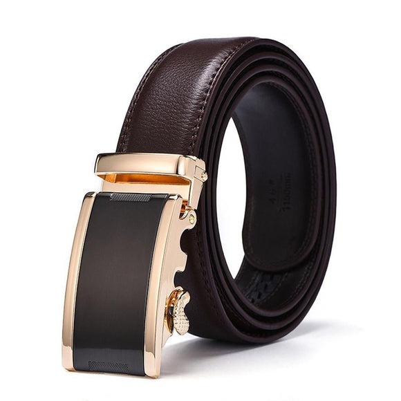 Men Luxury Gold Automatic Buckle Ratchet Leather Strap