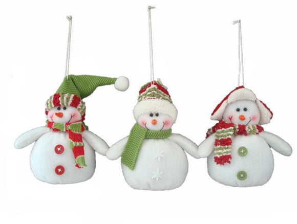 3 Pcs Snowman Wearing Hat Christmas Doll Toy Hanging Ornaments