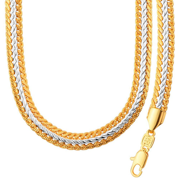 New Stylish Two Tone Gold Color Chain Jewelry Set