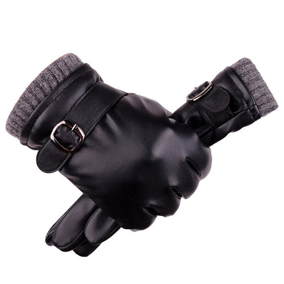 Leather Men Thicken Warm Thermal Gloves