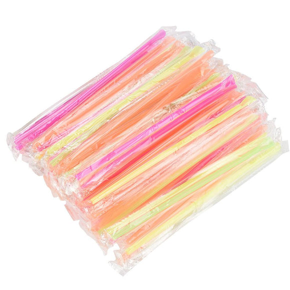Spoon Type Straight Colorful Straw Party 100Pcs