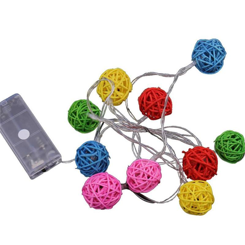 Mix color 10 LED Rattan Ball Christmas Lights