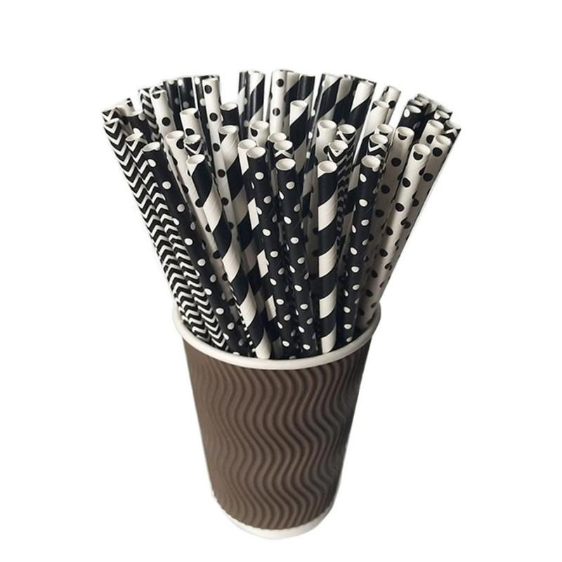 Black Theme Drinking Straws 100pcs Pack