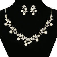 Clear Rhinestone Flower Pearl Necklace Set for Bride - sparklingselections