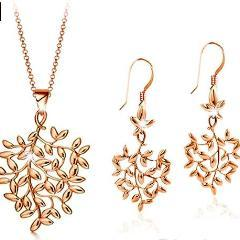 Women's Tree Leaf Design Necklace Earrings Jewelry Set