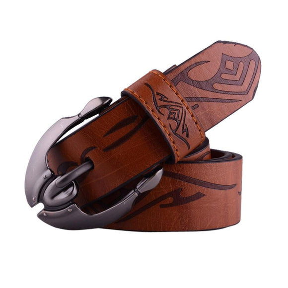 Mens Casual Waistband Leather Automatic Buckle Belt