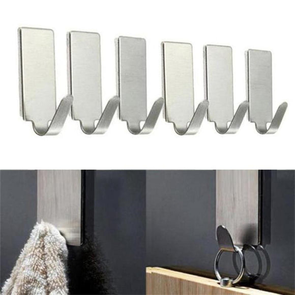 Self Adhesive Wall Stainless Steel Hooks 12PCS