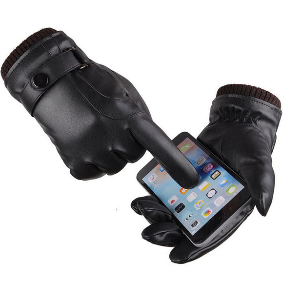 Men Thermal Winter Sports Leather Gloves