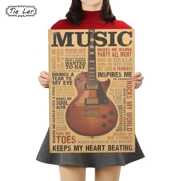 Guitar sticker for wall Poster Classic Nostalgic Wall Sticker