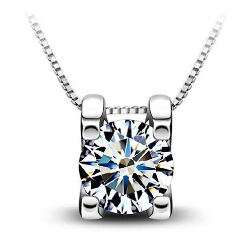 Cubic Zirconia Silver Plated Drop Pendant Necklace