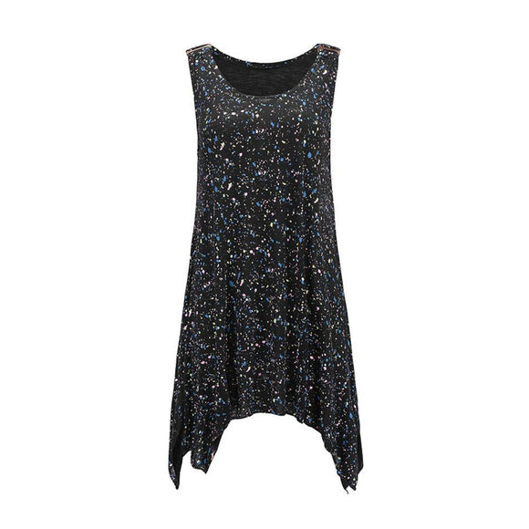 New Women O Neck Dot Printing Summer Sleeveless dress