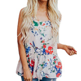 New Women O-Neck Sexy Sleeveless Flowers printed top