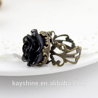 Gothic Style Vintage Resin Rose Hollow Out Rings for Women